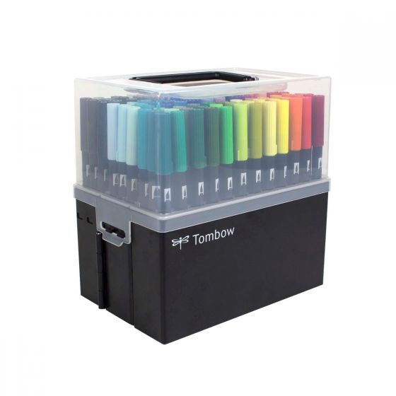 Complete Collection of Tombow Dual Brush Pens in a Portable Marker Case Tombow 56179 108-Piece Dual Brush Pen Set in Marker Case