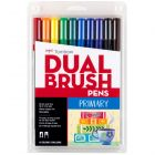 Dual Brush Pen Art Markers, Primary, 10-Pack