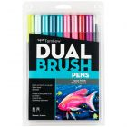 Dual Brush Pen Art Markers, Tropical, 10-Pack