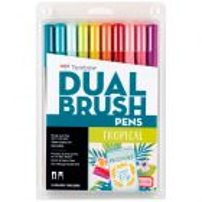Dual Brush Pen Art Markers, Tropical, 10-Pack