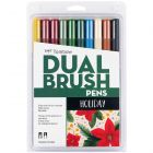 Dual Brush Pen Art Markers, Holiday Edition, 10-Pack