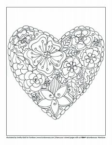 Floral Heart Printable Coloring Worksheet by Smitha Katti