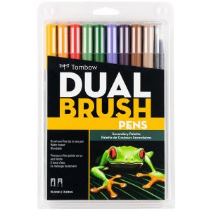 Dual Brush Pen Art Markers, Secondary, 10-Pack