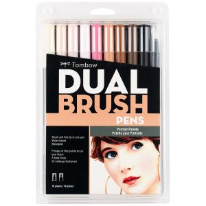 Dual Brush Pen Art Markers, Portrait, 10-Pack