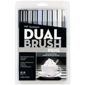 Dual Brush Pen Art Markers, Grayscale, 10-Pack