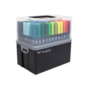 108-Piece Dual Brush Pen Set in Marker Case