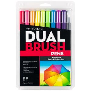 Dual Brush Pen Art Markers, Bright, 10-Pack