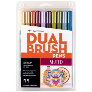 Dual Brush Pen Art Markers, Muted, 10-Pack