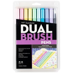 Dual Brush Pen Art Markers, Pastel, 10-Pack