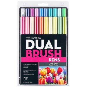 Dual Brush Pen Art Markers, Floral Palette, 20-Pack