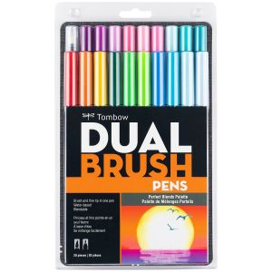 Dual Brush Pen Art Markers, Perfect Blends, 20-Pack
