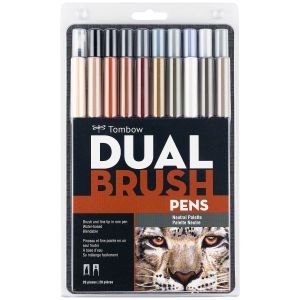 Dual Brush Pen Art Markers, Neutral Palette, 20-Pack