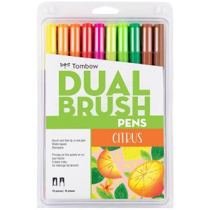 Dual Brush Pen Art Markers, Citrus, 10-Pack