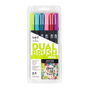 Dual Brush Pen Art Markers, Tropical, 6-Pack