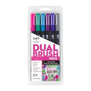 Dual Brush Pen Art Markers, Galaxy, 6-Pack