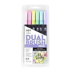 Dual Brush Pen Art Markers, Pastel, 6-Pack