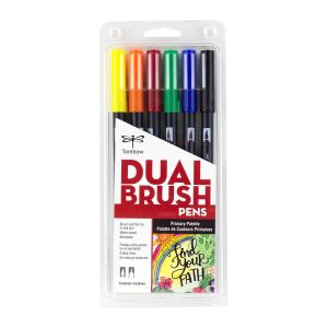 Dual Brush Pen Art Markers, Primary, 6-Pack