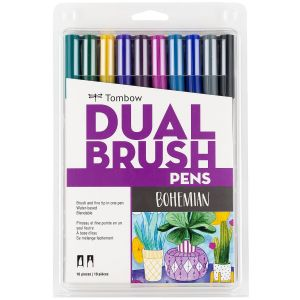 Dual Brush Pen Art Markers, Bohemian, 10-Pack