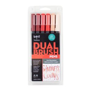 Dual Brush Pen Art Markers, Red Blendables, 6-Pack