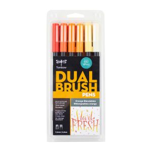 Dual Brush Pen Art Markers, Orange Blendables, 6-Pack