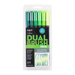 Dual Brush Pen Art Markers, Green Blendables, 6-Pack
