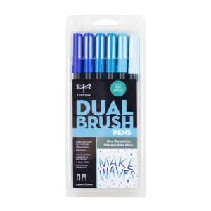 Dual Brush Pen Art Markers, Blue Blendables, 6-Pack