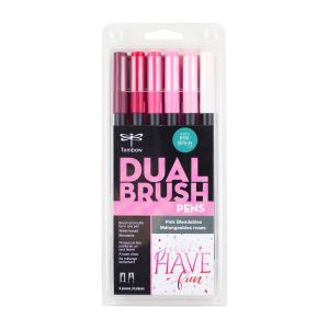 Dual Brush Pen Art Markers, Pink Blendables, 6-Pack