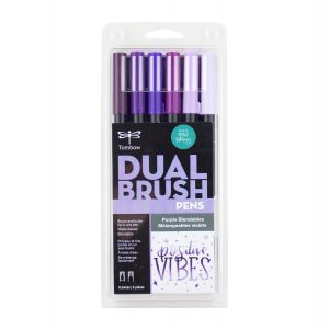 Dual Brush Pen Art Markers, Purple Blendables, 6-Pack