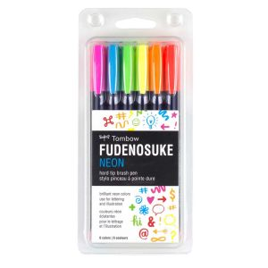Fudenosuke Neon Brush Pen Set, 6-Pack