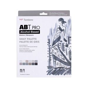 ABT PRO Alcohol-Based Art Markers, Gray Palette, 12-Pack