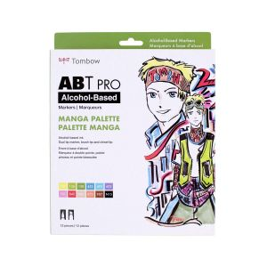 ABT PRO Alcohol-Based Art Markers, Manga Palette, 12-Pack