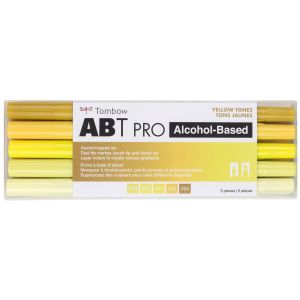 ABT PRO Alcohol-Based Art Markers, Yellow Tones, 5-Pack