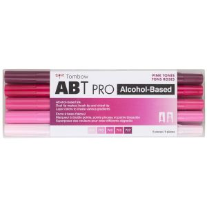 ABT PRO Alcohol-Based Art Markers, Pink Tones, 5-Pack