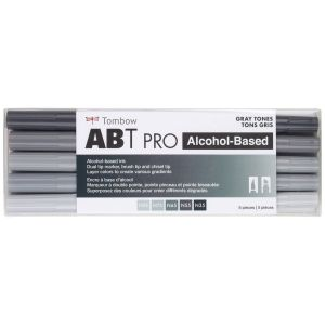ABT PRO Alcohol-Based Art Markers, Gray Tones, 5-Pack