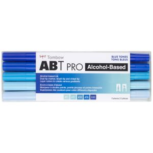 ABT PRO Alcohol-Based Art Markers, Blue Tones, 5-Pack