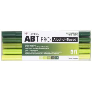 ABT PRO Alcohol Based Art Markers, Green Tones, 5-Pack