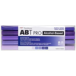 ABT PRO Alcohol-Based Art Markers, Purple Tones, 5-Pack