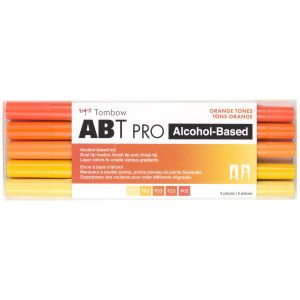 ABT PRO Alcohol-Based Art Markers, Orange Tones, 5-Pack