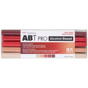ABT PRO Alcohol-Based Art Markers, Red Tones, 5-Pack