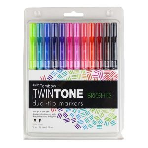 TwinTone Marker Set, 12-Pack Bright
