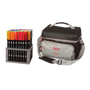 Dual Brush Pen Set, 96 Colors + Tote Bundle