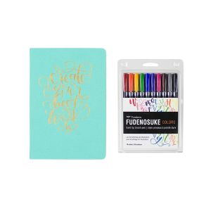 Fudenosuke Colors Set + Tombow Dot Grid Journal Bundle