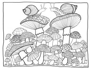 Mushroom Garden Printable Coloring Worksheet by Marie Browning
