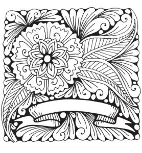 1. Flower Banner Printable Coloring Worksheet by Marie Browning