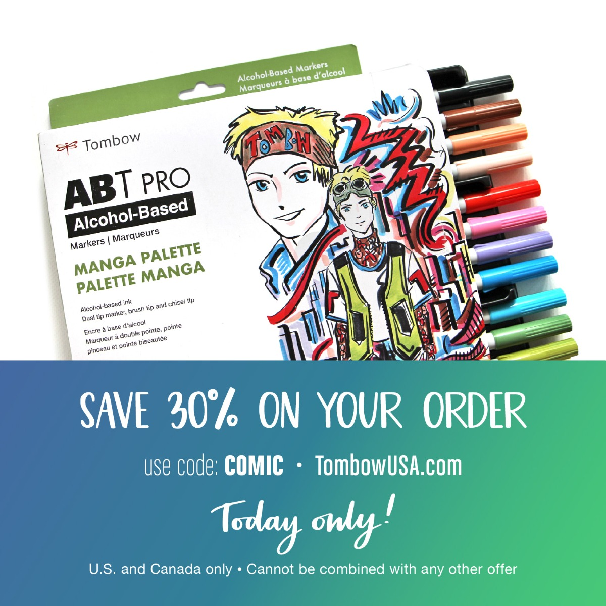 Save 30% on all Tombow items today only with code COMIC at checkout. Cannot be combined with any other offer. United States and Canada only.