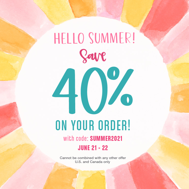 Celebrate Summer with 40% off your order. June 21st through 22nd only. Use code SUMMER2021 at checkout. Valid in the United States and Canada only. Cannot be combined with any other offer.
